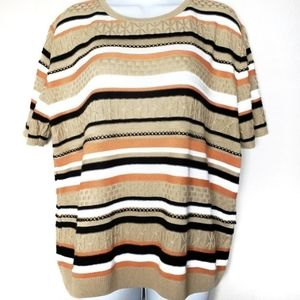 Alfred Dunner striped knit sweater top sz XL